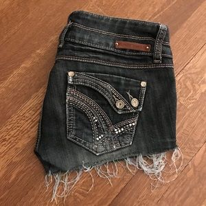 Almost Famous dark faded wash cut off jean shorts